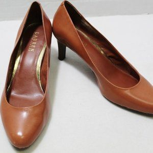 Ralph Lauren brown leather pointed toe pumps heels